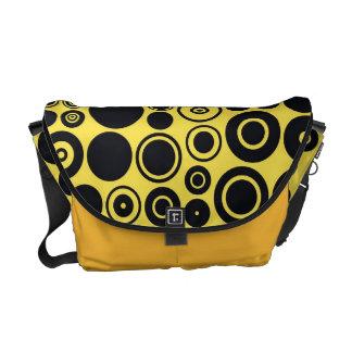 Yellow, Black Retro Circles Messenger Bags