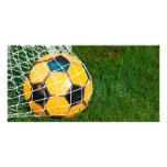 Yellow & Black Soccer Ball in Net Customized Photo Card