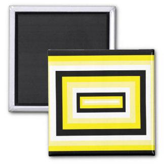 Yellow/Black Squares Fridge Magnet