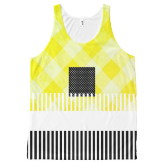 Yellow-Black-Summer-Fun-Women-Tank-Top All-Over Print Singlet