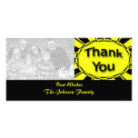 yellow black Thank you Picture Card