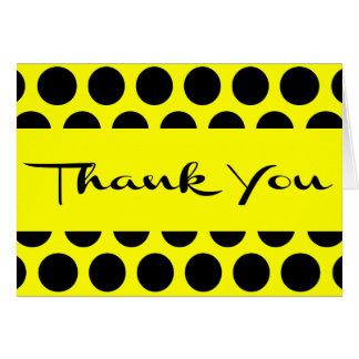 Yellow & Black Thank You Polka Dot Wedding Card