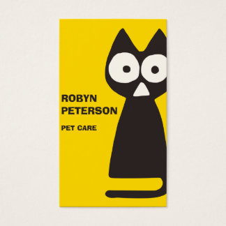 Yellow Black Triangle Cat Business Card
