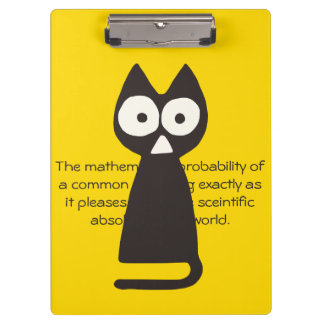 Yellow Black Triangle Symbolic Cat Clipboard