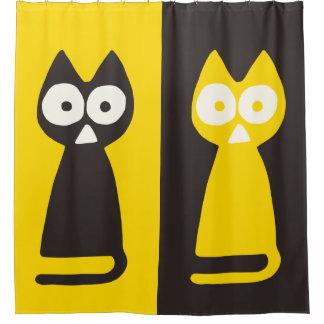Yellow Black Triangle Symbolic Cat Shower Curtain