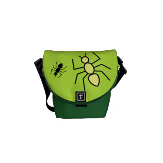 Yellow & Black Vector Ants -Grass Green Background Courier Bags