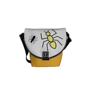 Yellow Black Vector Ants Messenger Bag