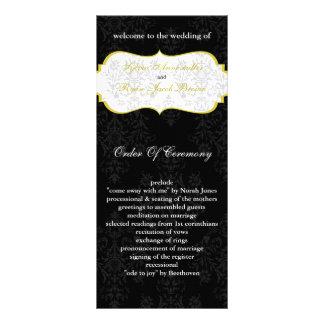 yellow black Wedding program Customised Rack Card