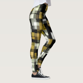 Yellow Black White Abstract Pattern Leggings