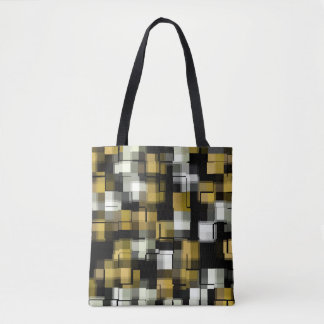 Yellow Black White Abstract Pattern Tote Bag