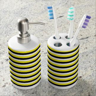 Yellow, Black, White Stripes Bathroom Set