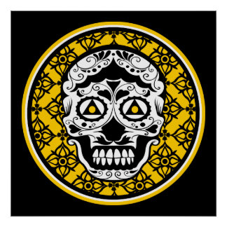 Yellow black white sugar skull damask poster