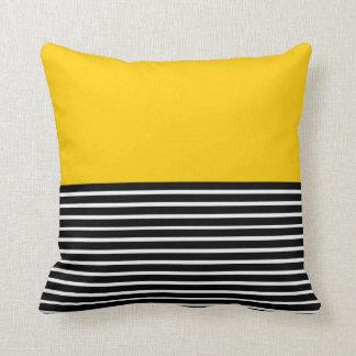 Yellow Block Black White Stripes Cushion