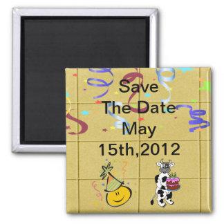 Yellow Block Confetti Party Set Square Magnet