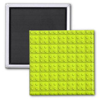 Yellow blocks pattern square magnet