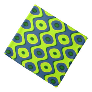 Yellow Blue and Green Colorful Retro Pattern Head Kerchief