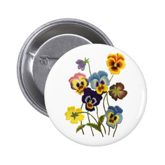 Yellow Blue and Purple Faux Embroidered Pansies Pin