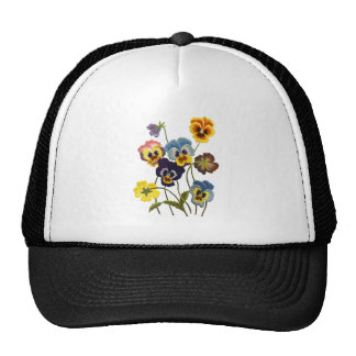 Yellow Blue and Purple Faux Embroidered  Pansies Cap