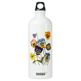 Yellow Blue and Purple Faux Embroidered  Pansies SIGG Traveller 1.0L Water Bottle