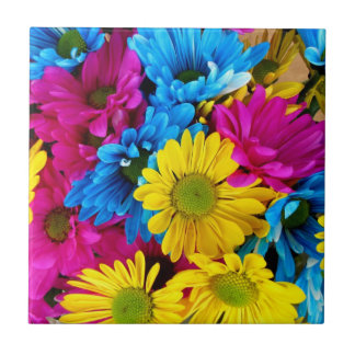 yellow, blue and red daisy tile