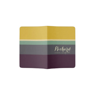 YELLOW BLUE AQUA LEATHER STRIPES MONOGRAM PASSPORT HOLDER
