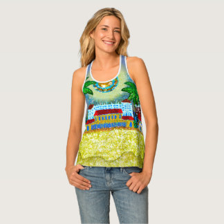 Yellow Blue Bondi Beach Art Sequin Dreams Studio Singlet