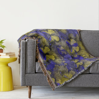 Yellow Blue Butterflies Throw Blanket