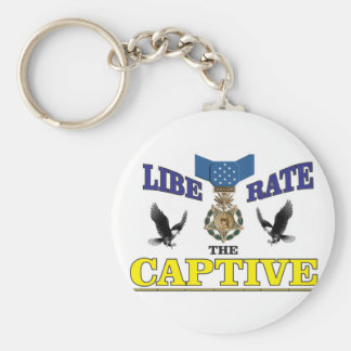 yellow blue captive medal basic round button key ring