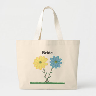 Yellow & Blue Daisy Flowers Bride Tote Bags