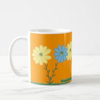 Yellow & Blue Daisy Flowers Custom Mugs