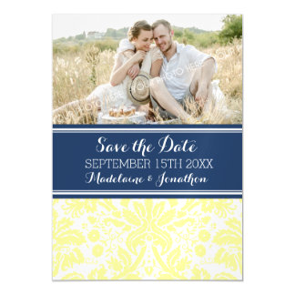 Yellow Blue Damask Save The Date Magnetic Card