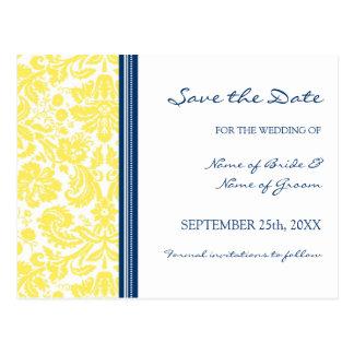 Yellow Blue Damask Save the Date Wedding Postcard