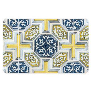 Yellow Blue Faux Geometric Tile Art Vinyl Magnet