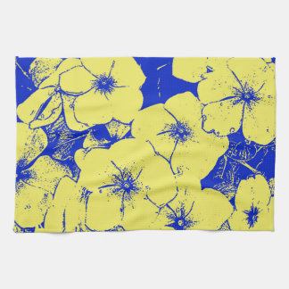Yellow Blue Floral Motif Tea Towel