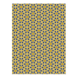 Yellow Blue Flower Pattern Postcard