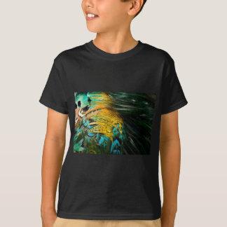 Yellow Blue Green Bird Feather Background T-shirt