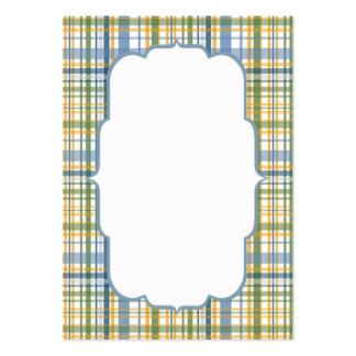 Yellow Blue Green Plaid Frame Business Card