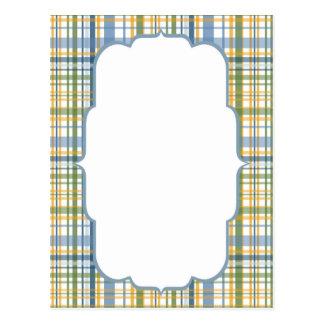 Yellow Blue Green Plaid Frame Post Card