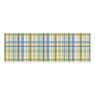 Yellow Blue Green Plaid Pack Of Skinny Business Cards