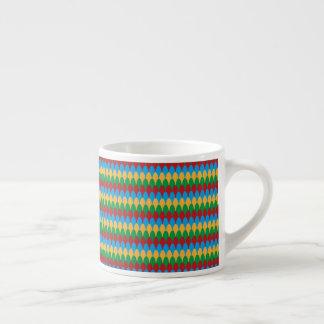 Yellow Blue Green & Red Geometric Scallops Espresso Cup