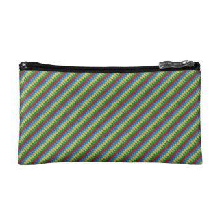 Yellow Blue Green & Red Geometric Scallops Makeup Bag