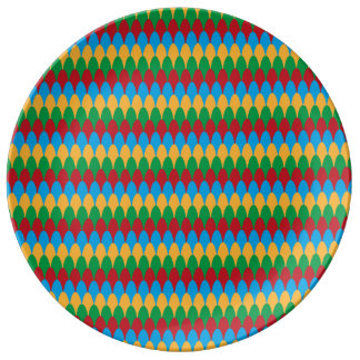 Yellow Blue Green & Red Geometric Scallops Plate