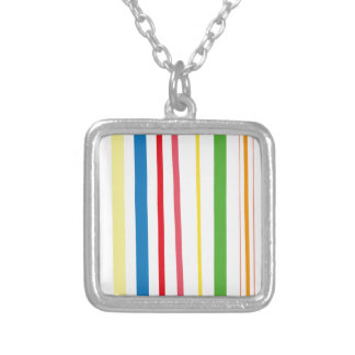Yellow Blue Green Stripes Silver Plated Necklace