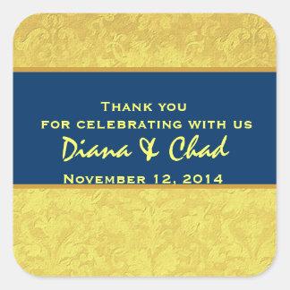 Yellow Blue Grunge Damask Thank You Wedding R312 Square Sticker