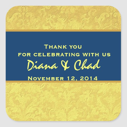 Yellow Blue Grunge Damask Thank You Wedding R312 Square Stickers