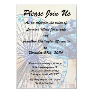 Yellow blue invert ferris wheel swings fair rides personalized invite