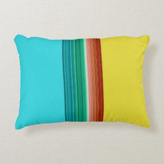 Yellow Blue Multicolor Striped Pattern Decorative Cushion
