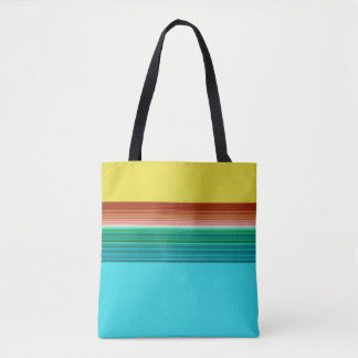 Yellow Blue Multicolor Striped Pattern Tote Bag