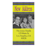 yellow blue new address photo card