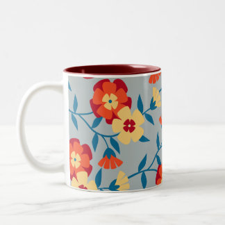 Yellow, Blue & Orange Modern Floral Coffee Mug
